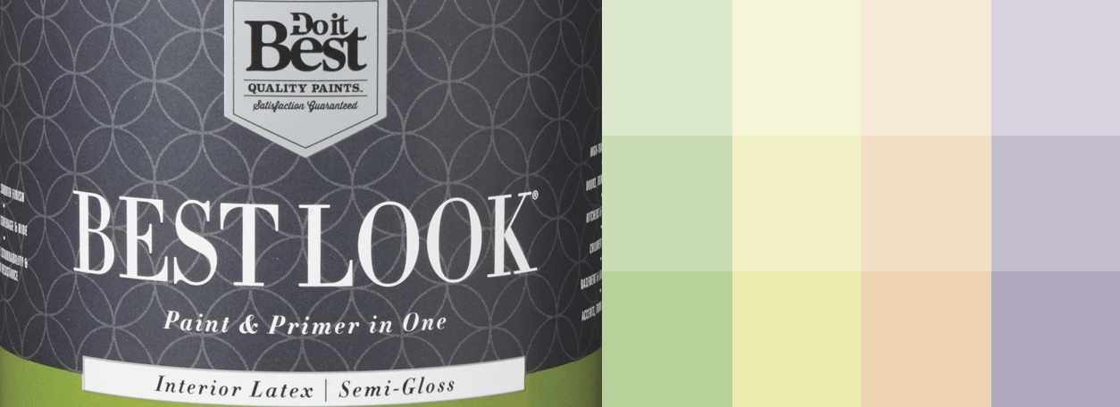 Best Look paint can with paint swatches