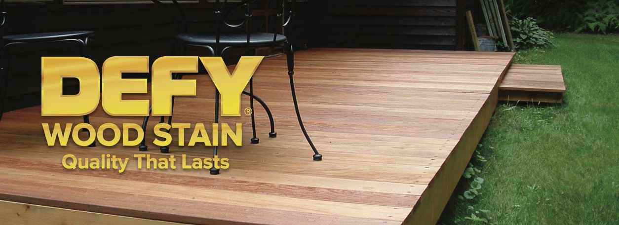 Defy Wood Stain logo with Defy-stained deck