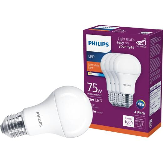 Philips EyeComfort 75W Equivalent Soft White A19 Medium LED Light Bulb (4-Pack)