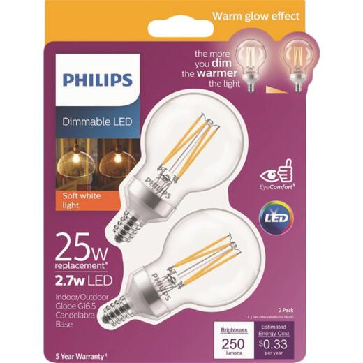 Philips Warm Glow 25W Equivalent Soft White G16.5 Candelabra Frosted Dimmable LED Decorative Light Bulb (2-Pack)