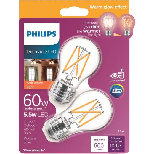 Philips Warm Glow 60W Equivalent A15 Medium Dimmable LED Light Bulb (2-Pack)